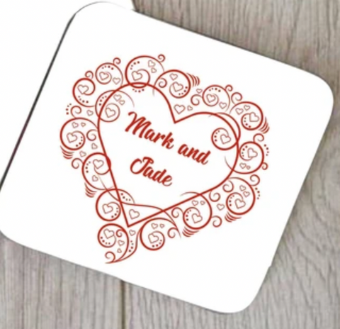 Swirly Framed Heart Coaster