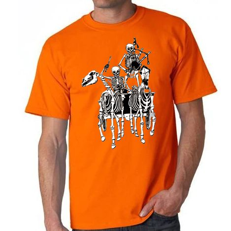Pocklington Pipe Band skeleton Gildan T-shirt