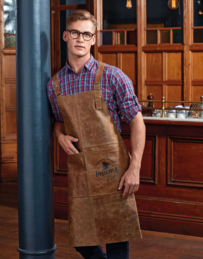 PR140 - Artisan 100% Leather Cross Back Bib Apron