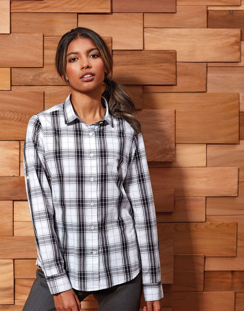 PR354 - Ladies Long Sleeve Ginmill Check Cotton Bar Shirt