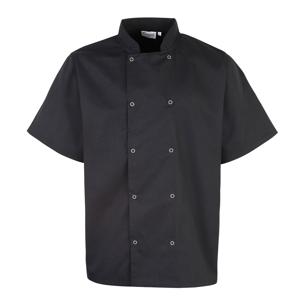 PR664 - Studded Front Short Sleeve Chef's Jacket