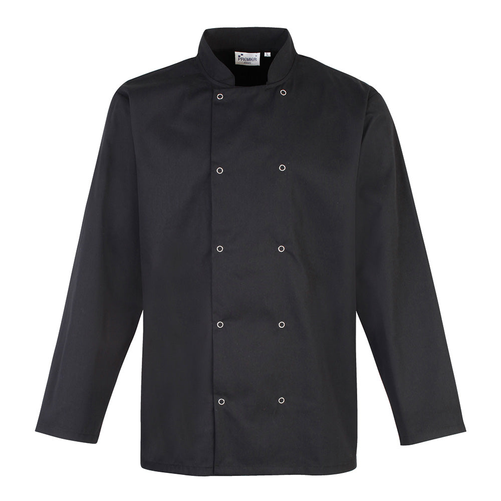 PR665 - Studded Front Long Sleeve Chef's Jacket