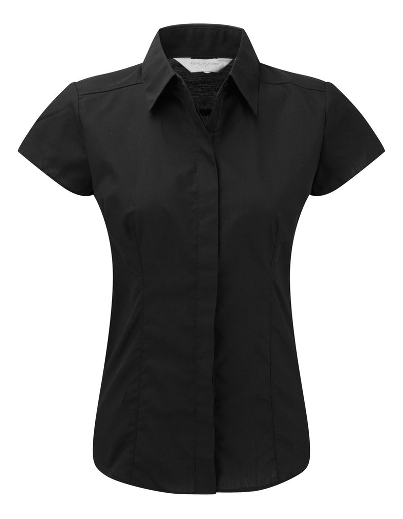 R925F - Ladies Cap Sleeve PolyCotton Easy Care Fitted Poplin Shirt