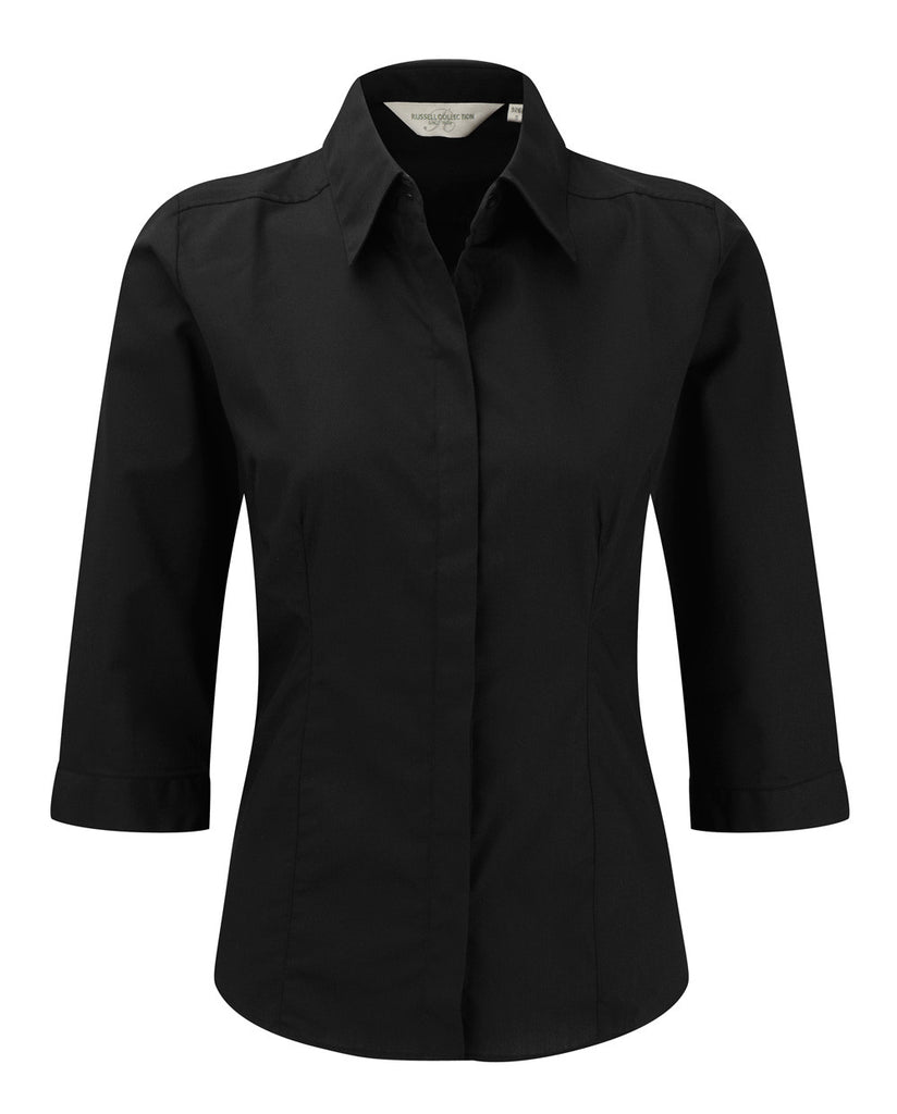 R926F - Ladies 3/4 Sleeve PolyCotton Easy Care Fitted Poplin Shirt