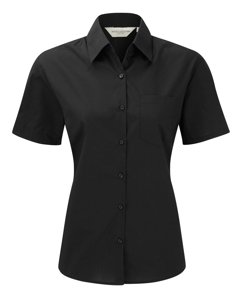 R935F - Ladies' Short Sleeve PolyCotton Easy Care Poplin Shirt