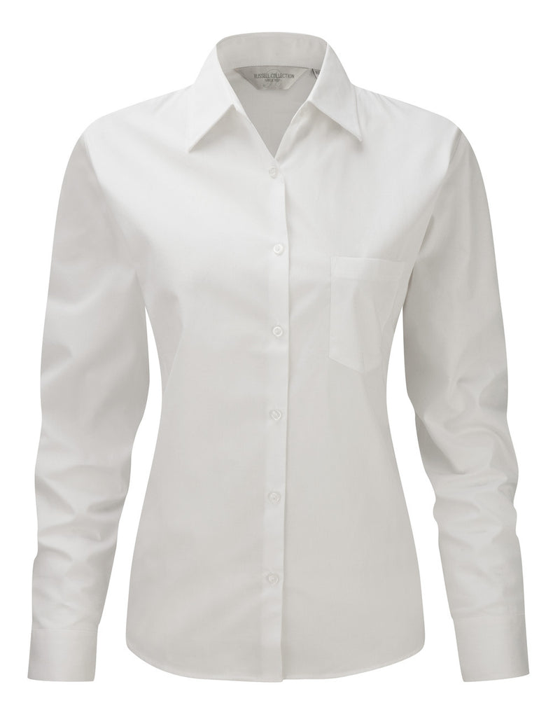 R936F - Ladies' Long Sleeve Pure Cotton Easy Care Poplin Shirt