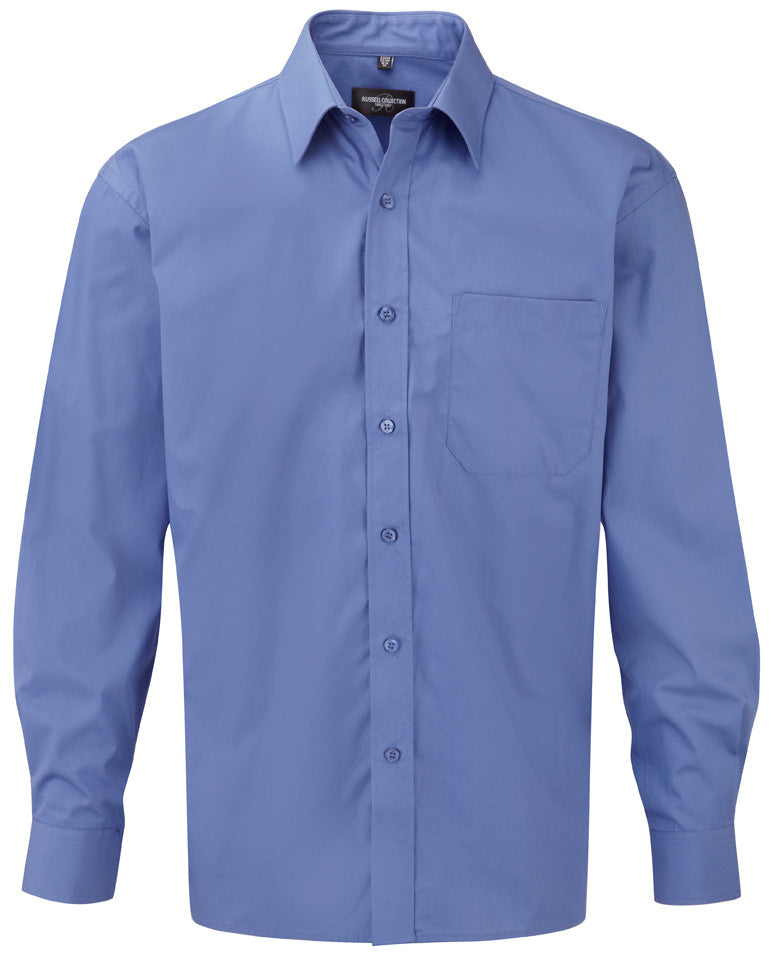R936M - Men's Long Sleeve Pure Cotton Easy Care Poplin Shirt