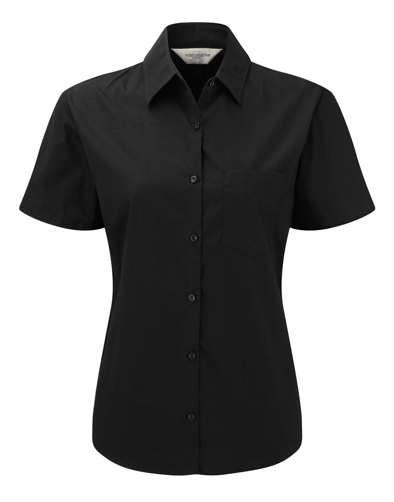 R937F - Ladies' Short Sleeve Pure Cotton Easy Care Poplin Shirt