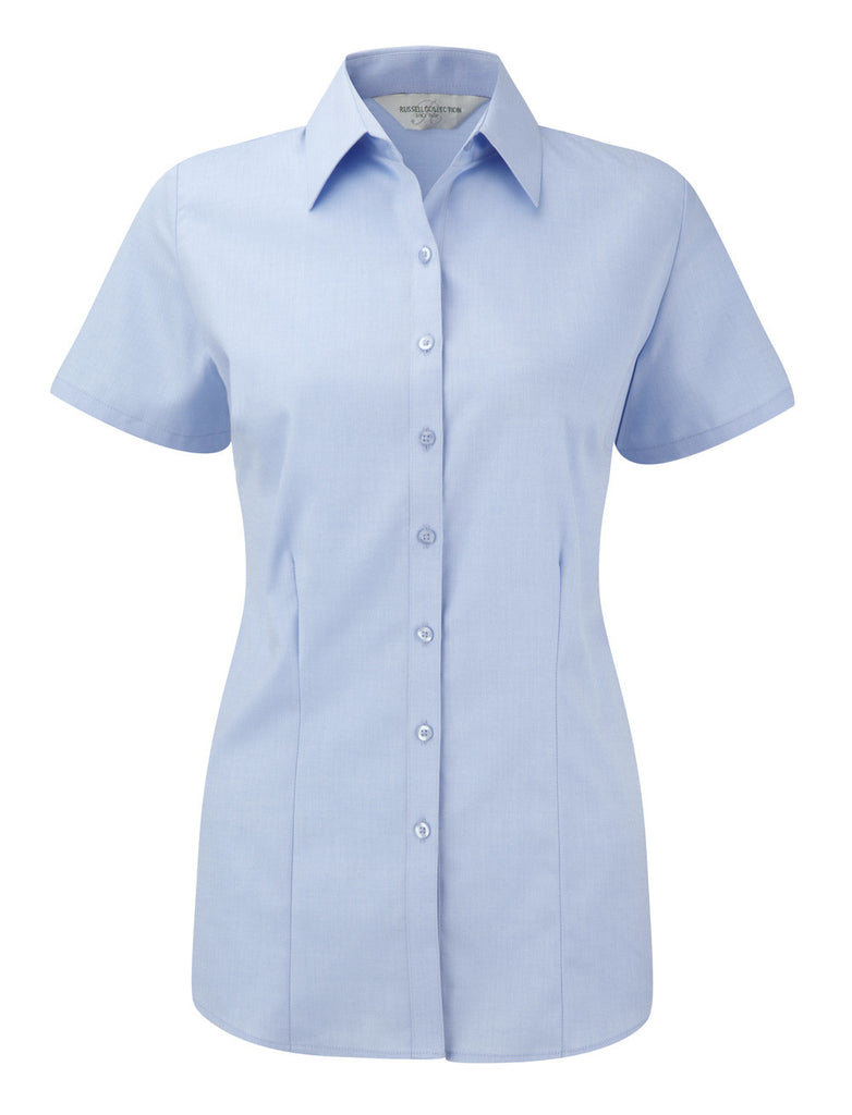 R963F - Ladies Short Sleeve Herringbone Shirt