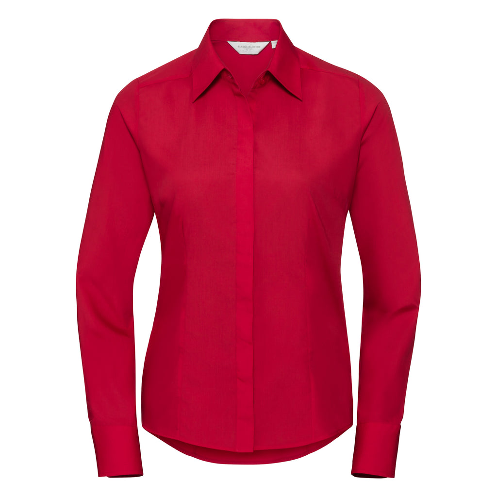 R924F - Ladies Long Sleeve PolyCotton Easy Care Fitted Poplin Shirt