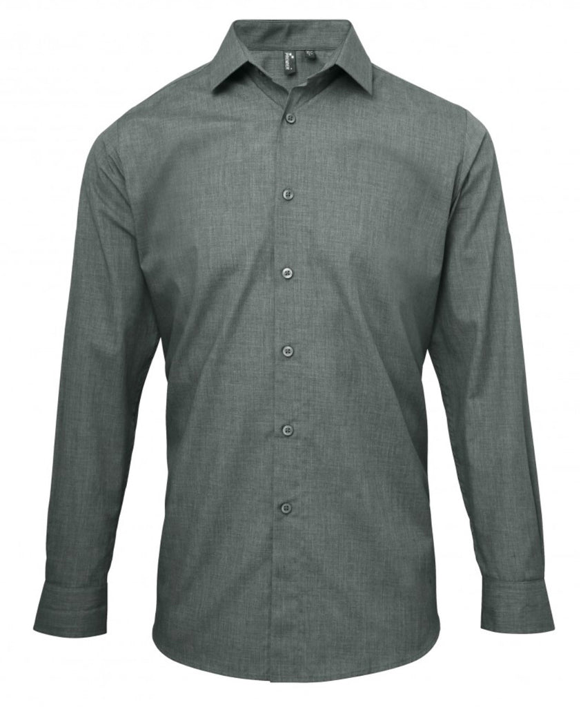 PR217 - Mens Poplin Cross-Dye Roll Sleeve Shirt