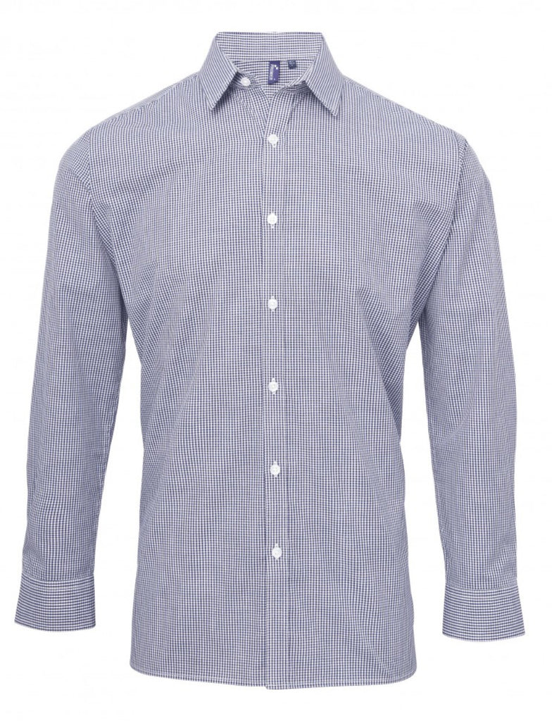 PR220 - Mens Microcheck (Gingham) Long Sleeve Shirt - Cotton