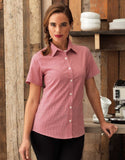 PR321 - Ladies Microcheck (Gingham) Short Sleeve Shirt - Cotton