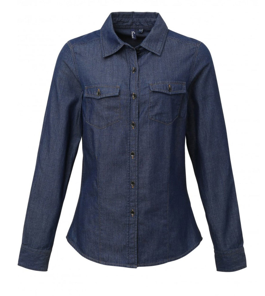 PR322 - Ladies Jeans Stitch Denim Shirt