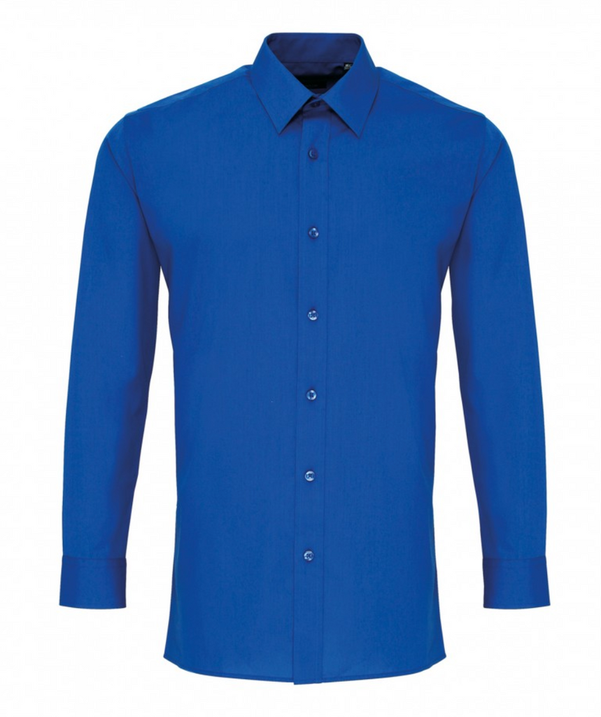 PR204 - Colours Poplin'' Fitted Long Sleeve Shirt