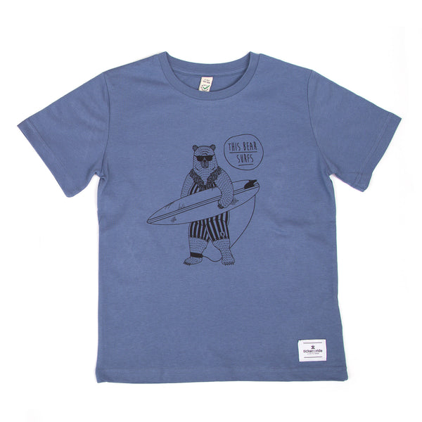 This Bear Surfs Kids T-Shirt - Blue