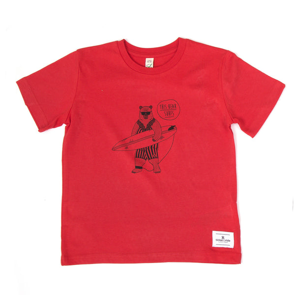 This Bear Surfs Kids T-Shirt - Red