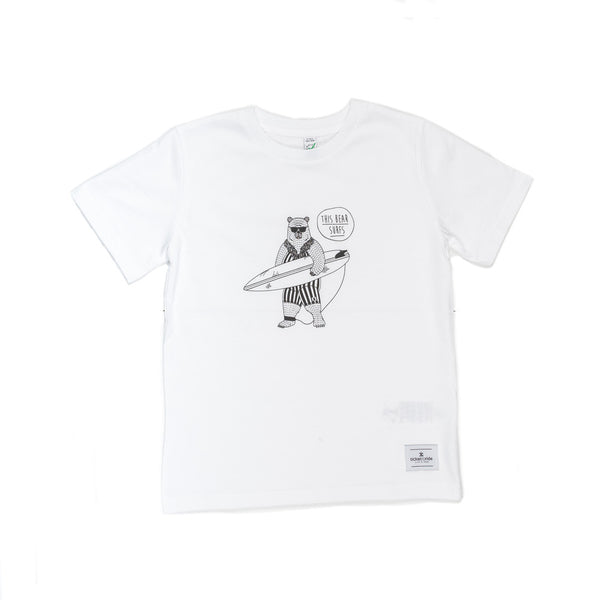 This Bear Surfs Kids T-Shirt - White