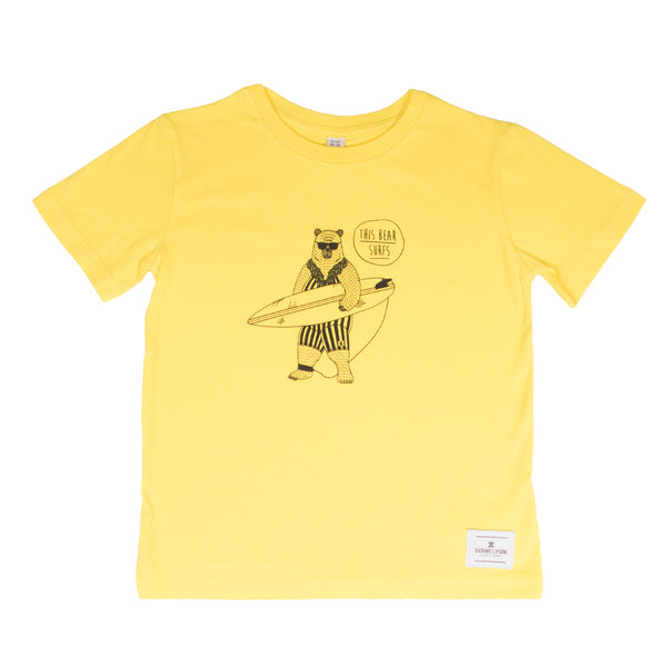 This Bear Surfs Kids T-Shirt - Yellow