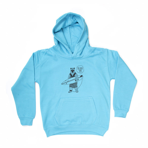 This Bear Surfs Kids Hoodie - Blue