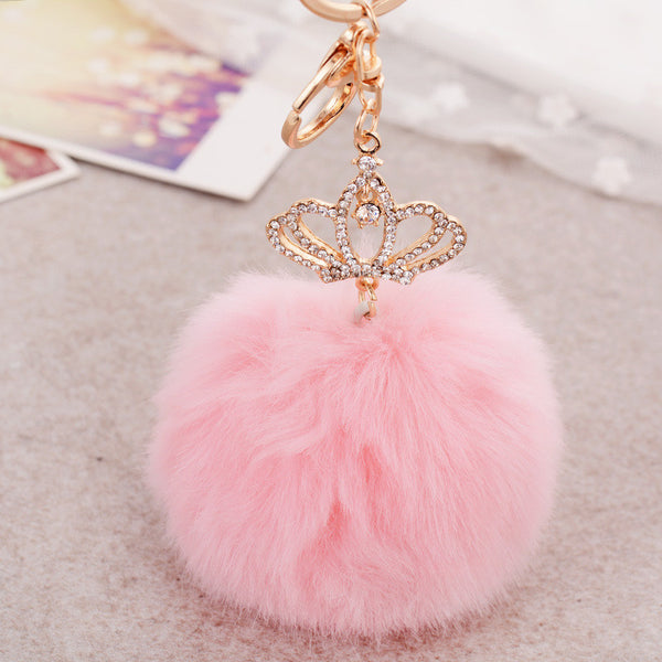 Signature Anesthesia 18K Gold Plated Oversized Pom Pom Crown Charm Key Ring
