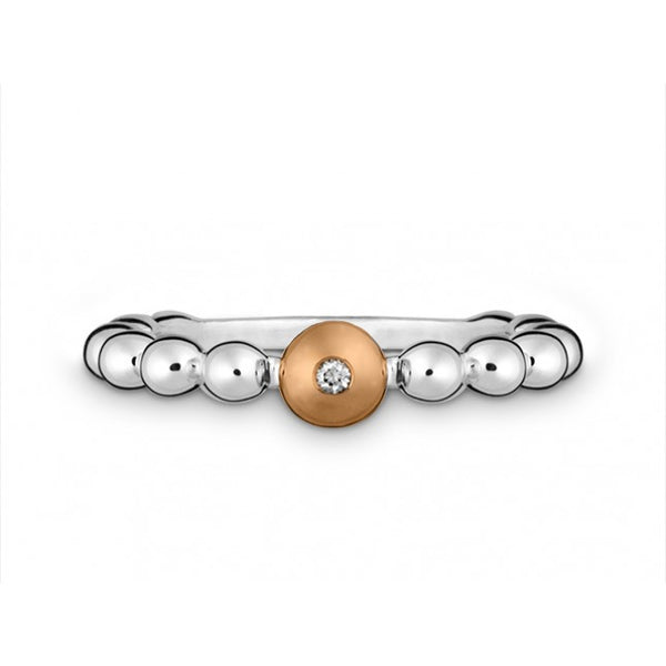 Silver & 14ct rose gold set with diamond - Ring