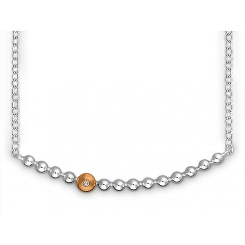 Silver & 14ct rose gold set with diamond - Necklace