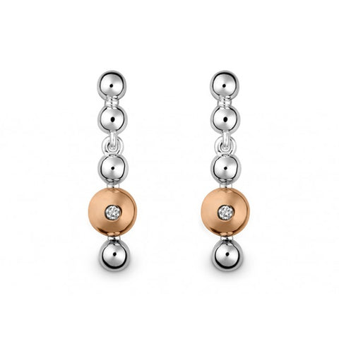 Silver & 14ct rose gold set with diamonds - Earrings