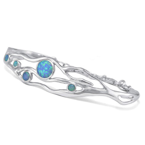 Silver Bangle Dotted With Opalites | BAN/BA1831/E5