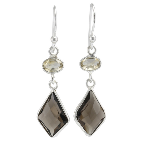 Smoky Quartz and Citrine Drop Earrings | BAN/EA1460