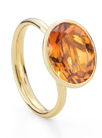 Mandarin Garnet Yellow Gold Ring