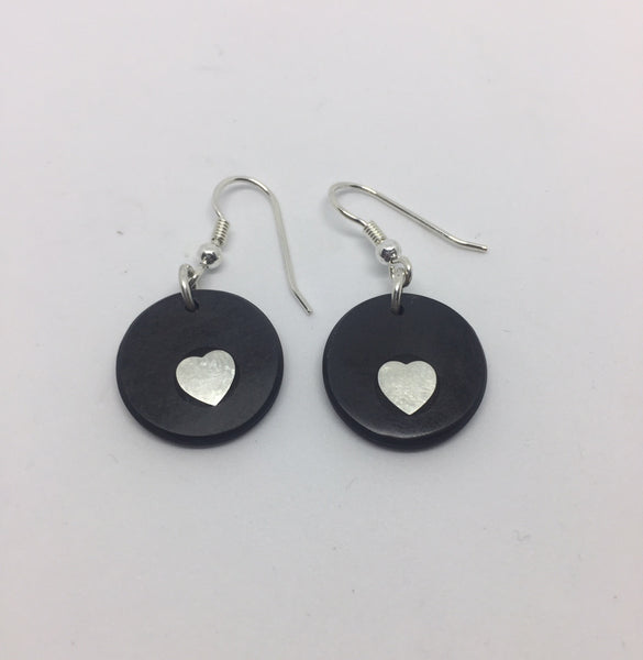 Slate and Silver Heart Earrings | STRANDS/HS9