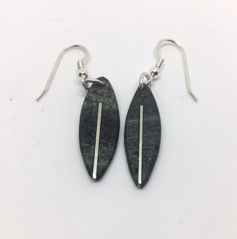 Slate with Silver Line Centre Earrings | STRAND/LFW5