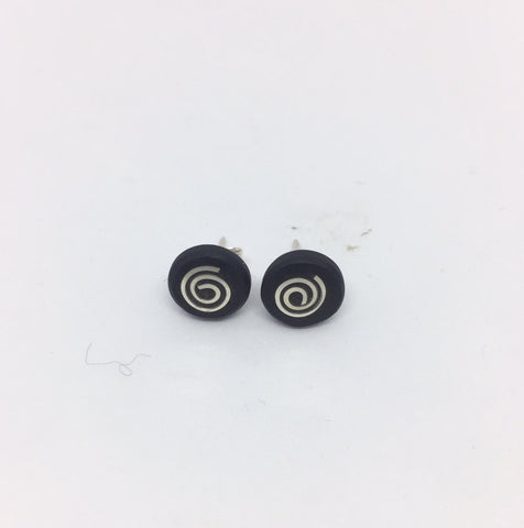 Slate with Silver Roses Studs | STRANDS/STROSE