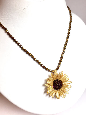 Sunflower & Seed Pearl - Necklace