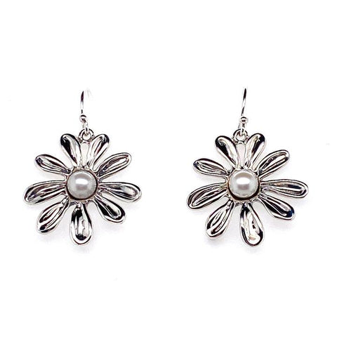 Daisy flower White Pearl drop earrings
