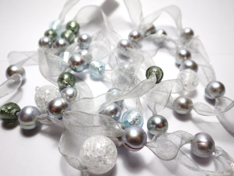Pearl, glass & crystal on ribbon - Necklace