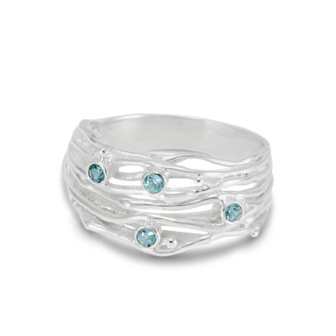 Silver Stranded Ring with Blue Topaz | BAN/RI0839MOO