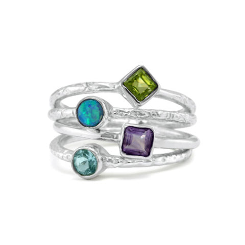 Joined Stacking Ring With Semi Four Precious Stones | BAN/RI0946N00