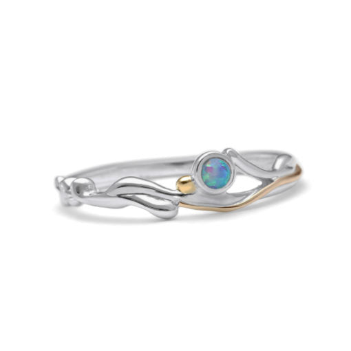 Slim Silver Ring with Round Blue Opalite | BAN/RI0993M00