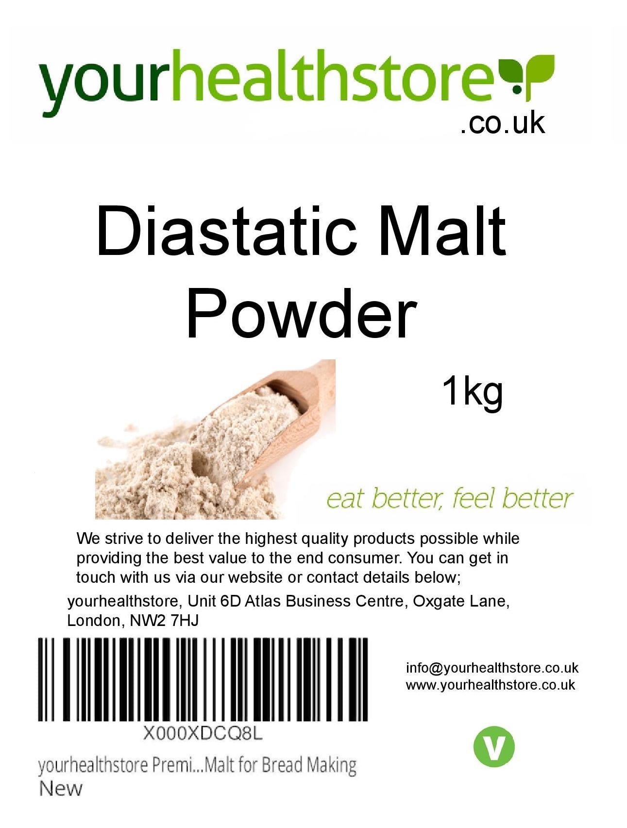 yourhealthstore Premium Diastatic Malt Powder 1kg Barley Malt for Bread Making