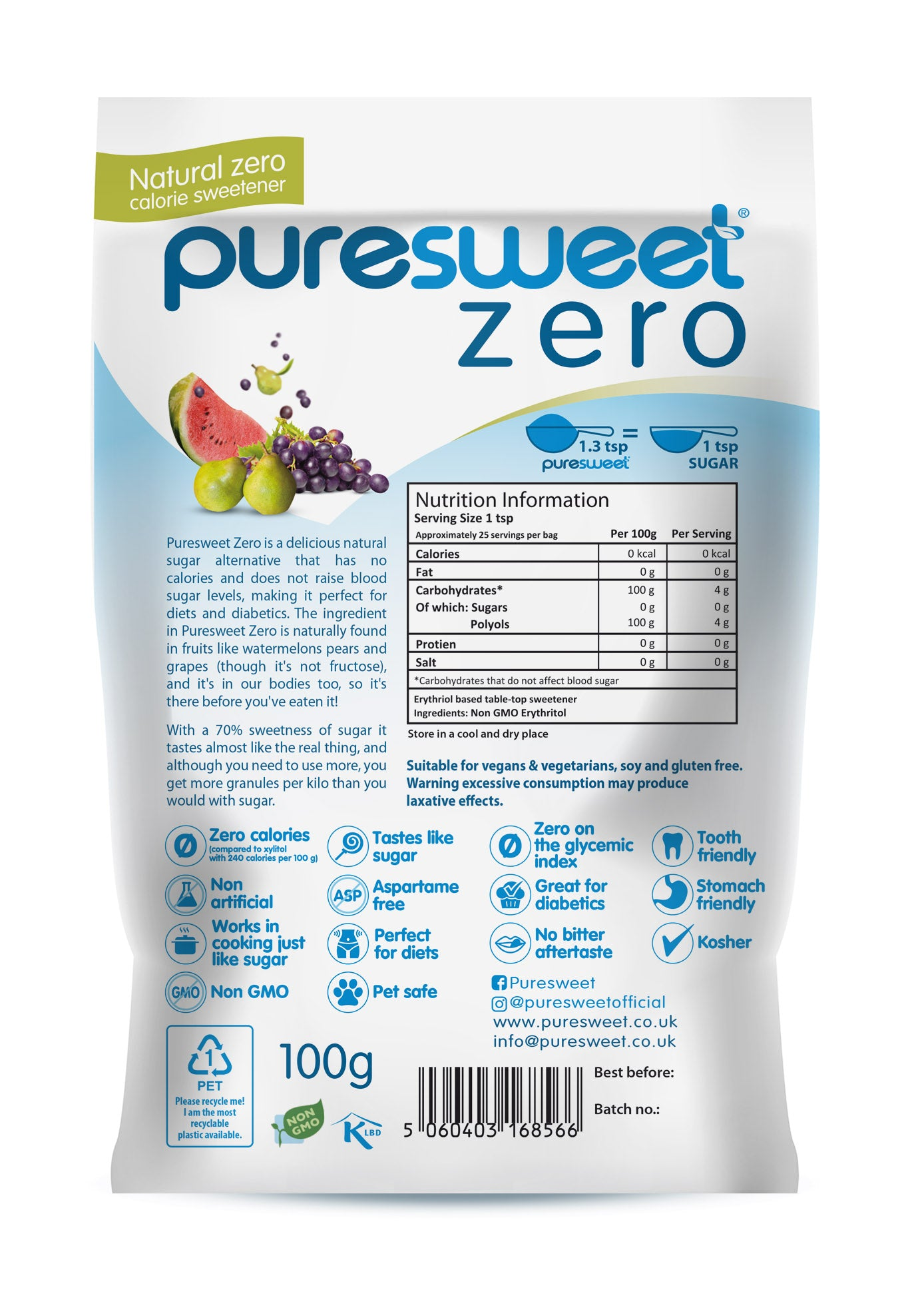 Puresweet Zero® 100% Natural Zero Calorie Sweetener 1kg, No bitter aftertaste, Diabetic Friendly, Tooth Friendly, Vegan, Non GMO.