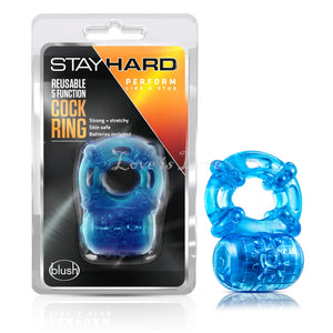 Blush Novelties Stay Hard Reusable 5 Function Cockring Blue Buy in Singapore LoveisLove U4ria