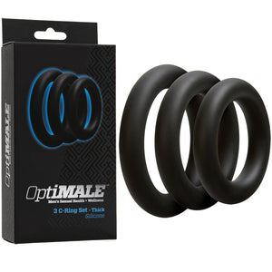 Doc Johnson OptiMale 3 C-Ring Set Thick Black or Slate