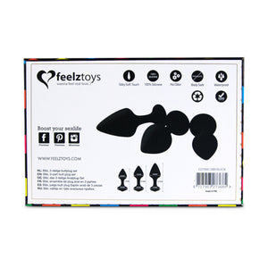 Feelztoys Bibi Butt Plug Set 3 pcs Black Buy in Singapore LoveisLove U4ria