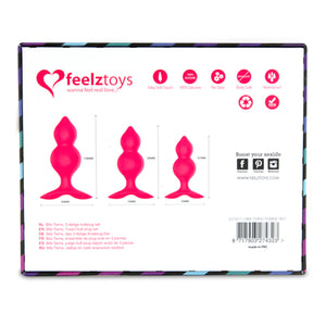 Feelztoys Bibi Twin Butt Plug Set 3 pcs Pink Buy in Singapore LoveisLove U4ria