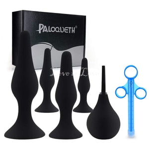 Paloqueth 4 pieces Butt Plug Training Kit with suction cup Plus Lube Shooter & Anal Douche buy in Singapore LoveisLove U4ria