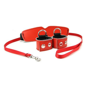 Sex & Mischief Red Bondage Kit  (Popular Red Bondage Set - Cuffs/Collar, Leash/Tether and Blindfold)(Just Sold- Low Stock)