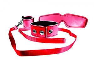 Sex & Mischief Red Bondage Kit  (Popular Red Bondage Set - Cuffs/Collar, Leash/Tether and Blindfold)