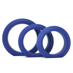 Tom Of Finland 3 Piece Silicone Cock Ring Set Blue Or Black (Retail Popular Thick Cock Ring Set)